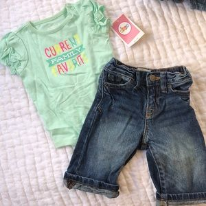 6-9 mo. Old onesie and Jeans
